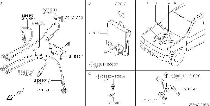 INFINITI QX4 Oxygen Sensor (Rear) - 226A1-0W004   INFINITI ...