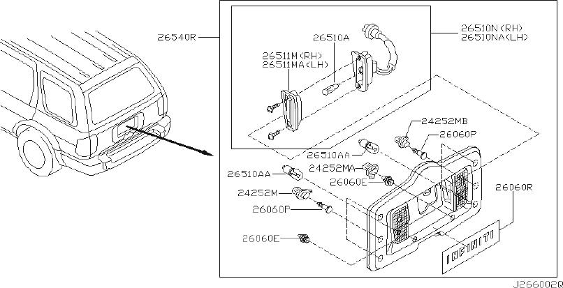 Infiniti Qx4 Back Up Light Clip  Carrier  Lamp  Tire