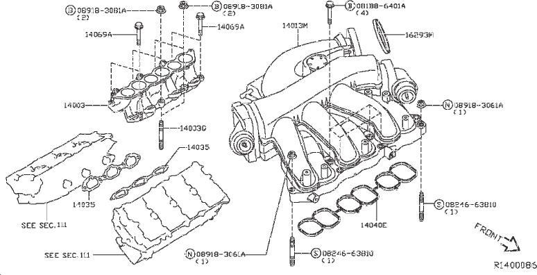 Infiniti Qx60 Engine Intake Manifold Gasket  Cover