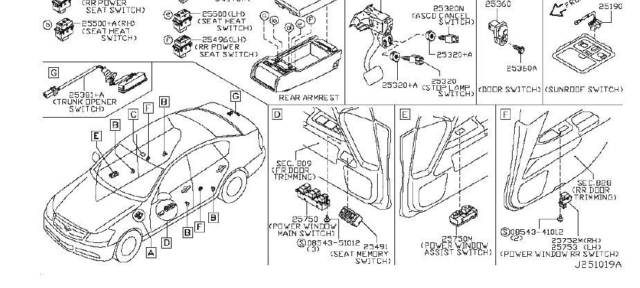 Infiniti M45 Switch Wiper  Body